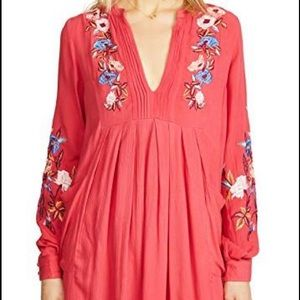 Free People long sleeve embroidered flower dress